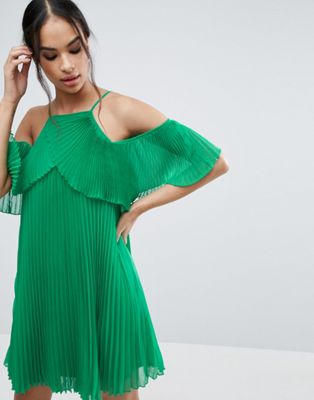 Image 1 of ASOS Double Layer Cold Shoulder Pleated Mini Dress