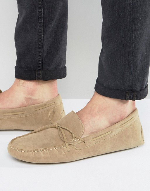 ASOS Driving Shoes in Stone Faux Suede With Tie Front