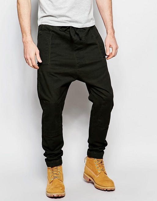 Home; ASOS Drop Crotch Pants In Twill With Oil Wash. image.AlternateText