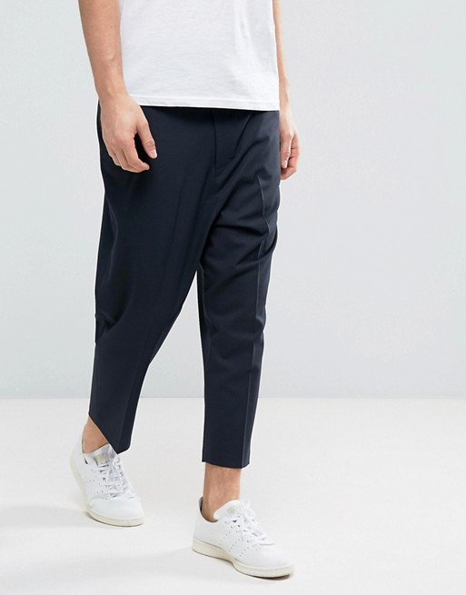 Drop Crotch Tapered Smart Trousers In Navy With Back Pocket Detail - Navy Asos rWd5VP