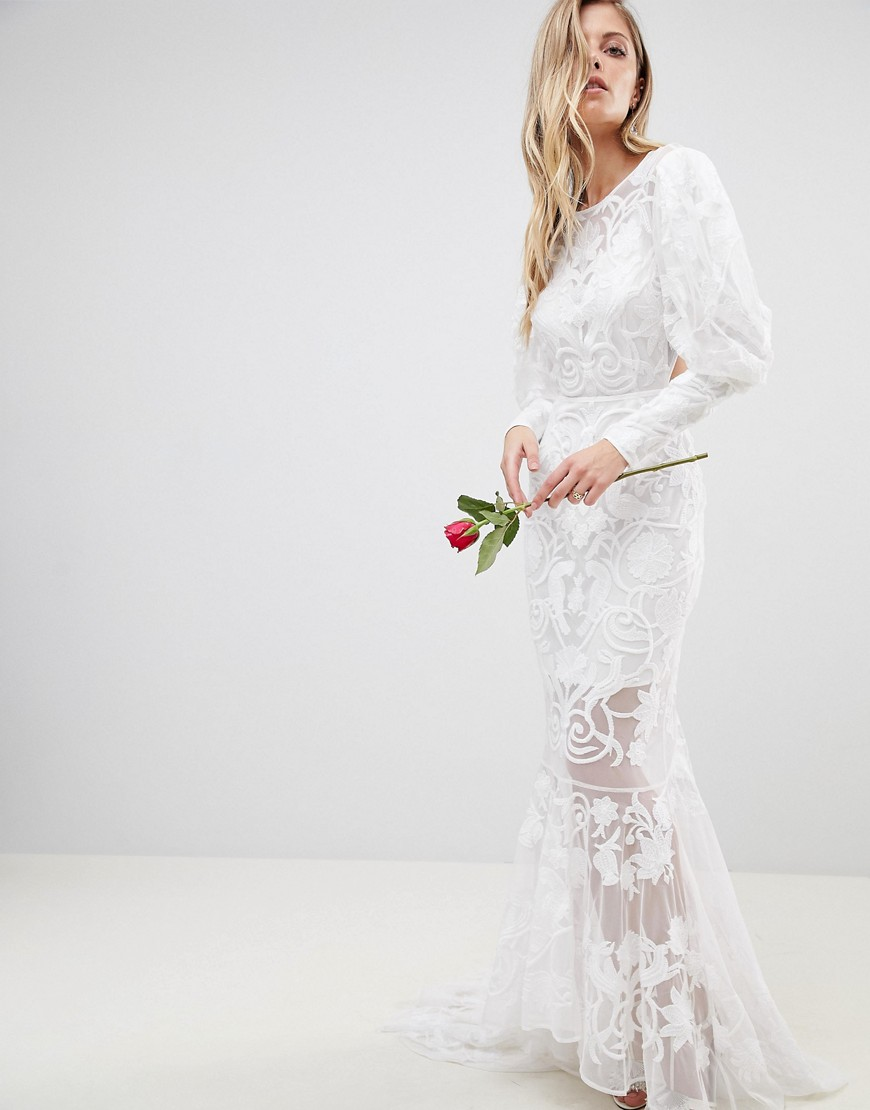 backless maxi wedding dress with beautiful embroidery - White Asos
