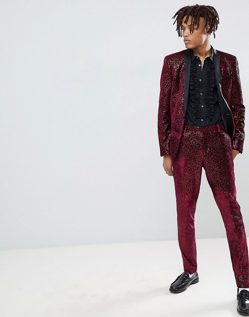 Asos Edition Super Skinny Tuxedo Suit Pants In Allover Burgundy Sequin by Asos Design