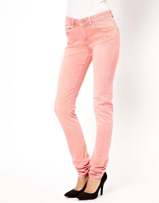 Immagine 1 di ASOS - Elgin - Jeans skinny supermorbidi color corallo slavato