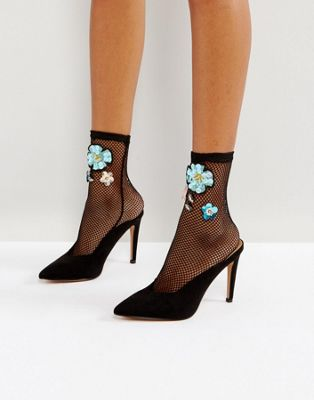 Image 1 of ASOS Embellished Mesh Ankle Sock