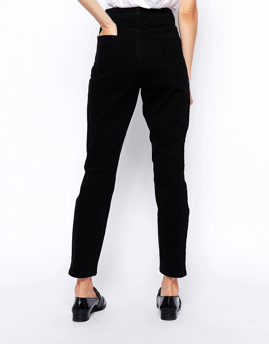 ASOS DESIGN Tall Farleigh high waist slim mom jeans in clean black - Black Asos Tall