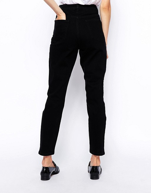 ASOS DESIGN Tall Farleigh high waist slim mom jeans in clean black - Black Asos Tall G1Hkv