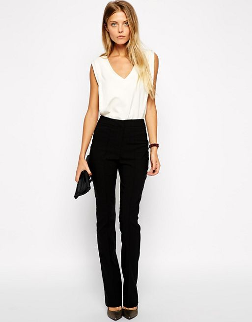 Image 1 of ASOS Flare Trousers with Pintuck