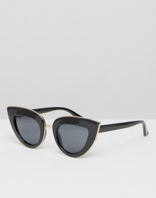 Image 1 of ASOS Flat Top Cat Eye Sunglasses With Full Metal Sandwich
