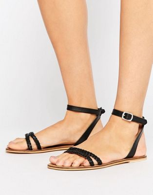 Image 1 of ASOS FLERY Leather Flat Sandals
