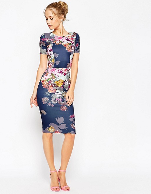 Asos asos floral print scuba body conscious dress for Robe fleurie asos