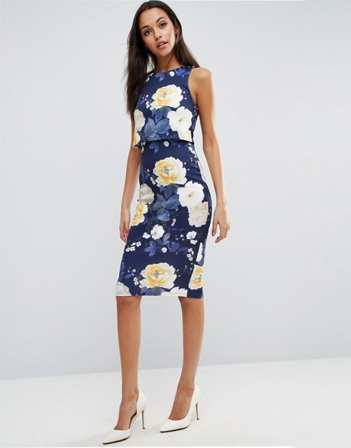 Asos asos floral scuba crop top midi bodycon dress for Robe fleurie asos