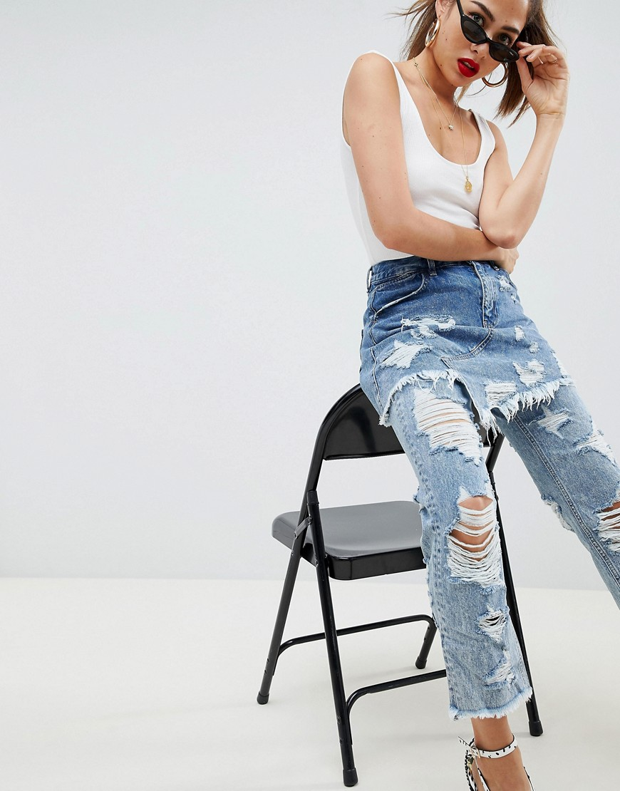 FLORENCE AUTHENTIC STRIAGHT Leg Jeans With Rips and Skirt Overlay - Mid wash blue Asos