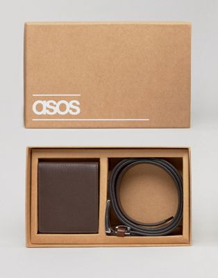 Image 1 of ASOS Gift Set With Leather Wallet and Belt