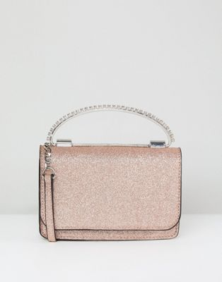 Image 1 of ASOS Glitter Boxy Clutch Bag With Gem Grab Handle