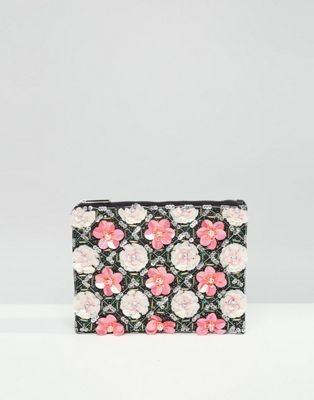 Image 1 of ASOS Grid Floral Zip Top Clutch Bag