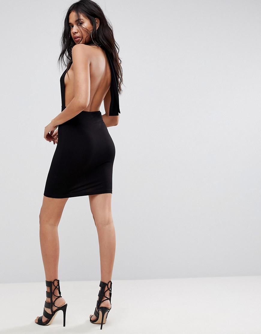 Halterneck Plunge Mini Bodycon Dress - Black Asos