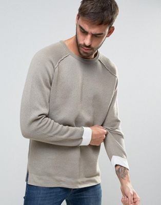 Image 1 of ASOS Heavyweight Cotton Jumper In Beige