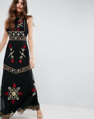 Image 1 of ASOS High Neck Embroidered Cut Out Back Maxi Dress