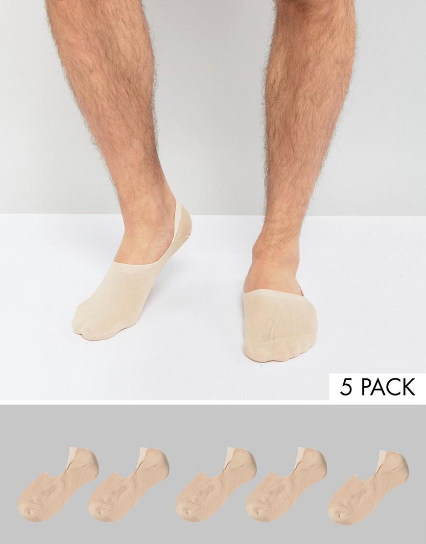Invisible Socks in BEIGE 5 Pack - Beige Asos