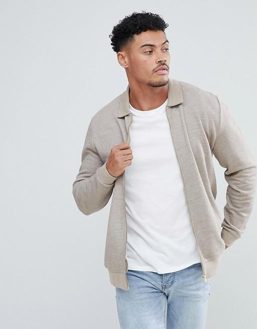 ASOS ASOS Texture In Harrington Jersey Jacket Beige 8dRw1q