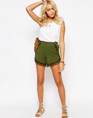Image 1 of ASOS Jersey Shorts with Tassels