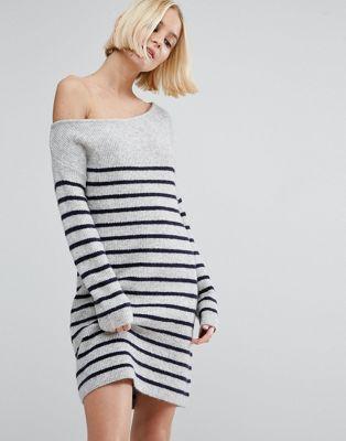 Image 1 of ASOS Jumper Dress with Off Shoulder in Stripe