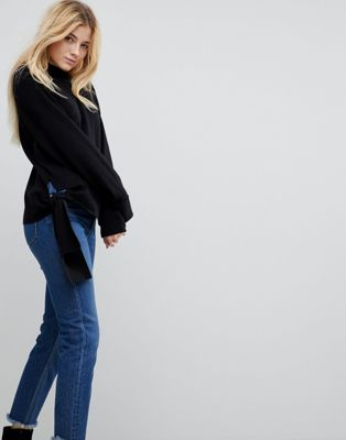 Image 1 of ASOS Jumper with High Neck and Hem Detail