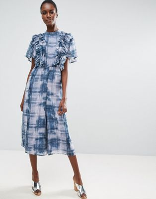 Image 1 of ASOS Jumpsuit with Raw Edge Ruffle Detail in Blurred Check Print
