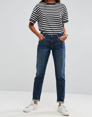 Image 1 of ASOS KIMMI Shrunken Boyfriend Jeans in Clara Darkwash Blue