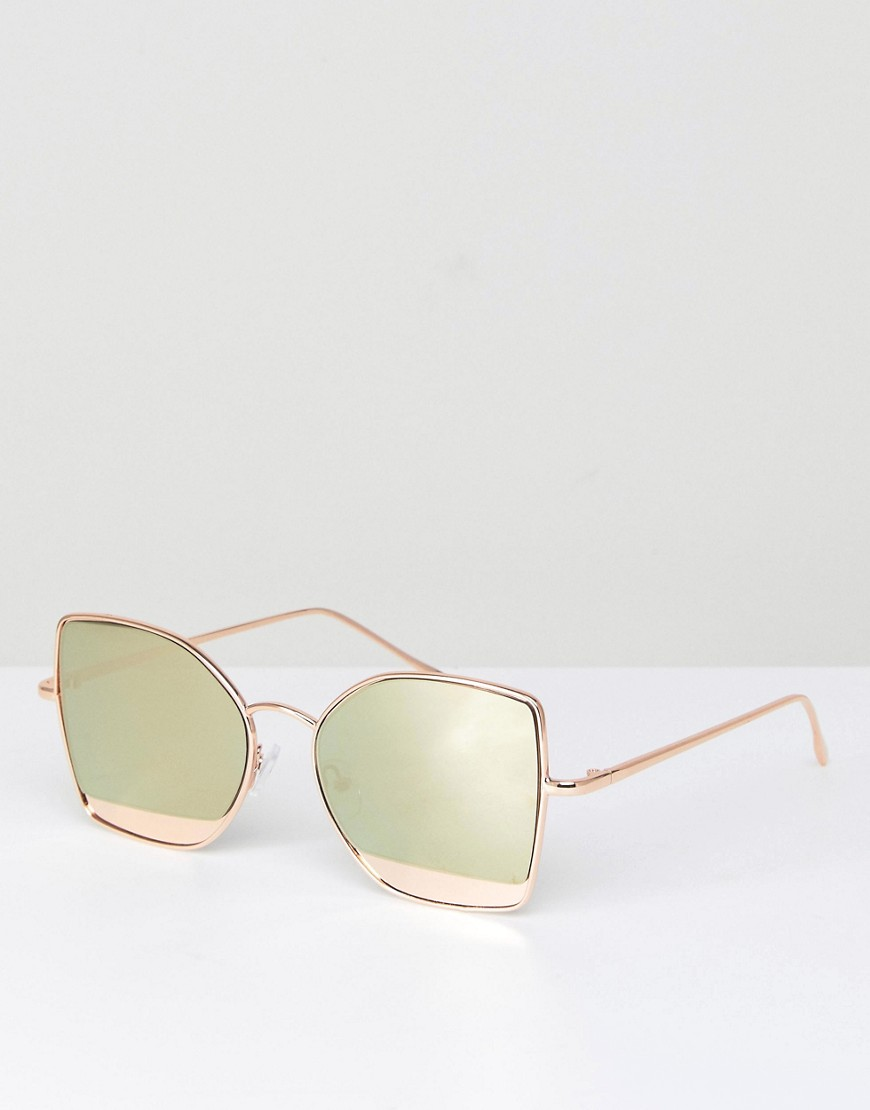 Kitten Cat Eye Sunglasses With Mirror Insert - Rose gold Asos
