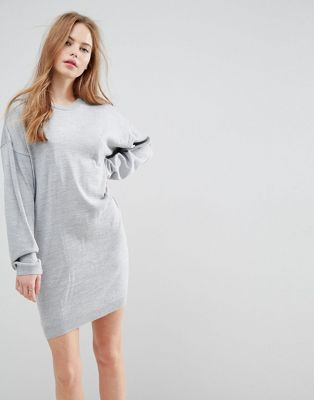 Image 1 of ASOS Knitted Jumper Dress with Volume Sleeves