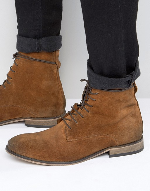 ASOS Lace Up Boots In Tan Suede With Natural Sole