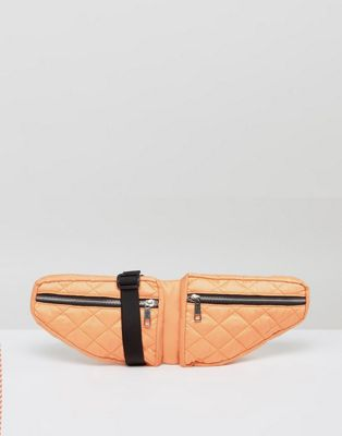 ASOS LIFESTYLE Double Pouch Quilted Fanny Pack