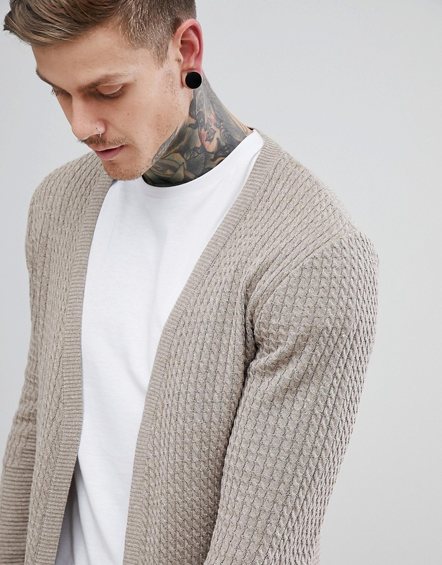 Lightweight Cable Cardigan In Oatmeal - Oatmeal Asos
