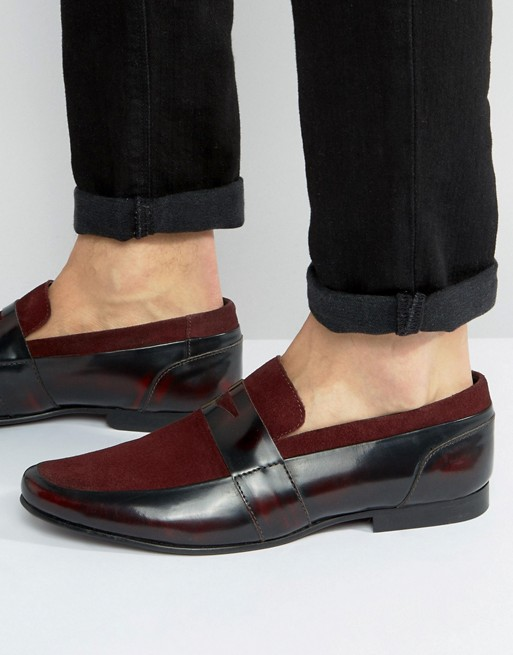 ASOS Loafers In Burgundy Leather With Burgundy Suede Details