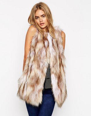 Image 1 of ASOS Longline Gilet In Vintage Faux Fur