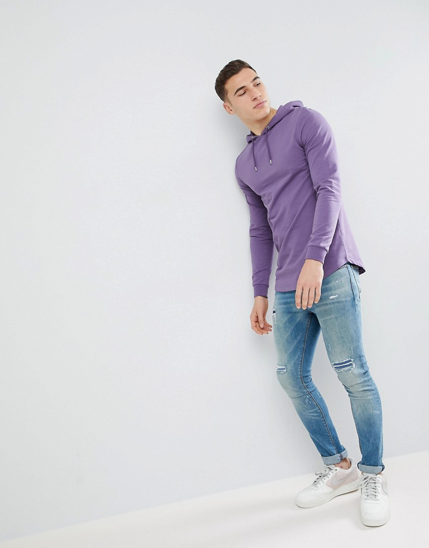 Asos Longline Muscle Hoodie With Curved Hem In Purple by Asos