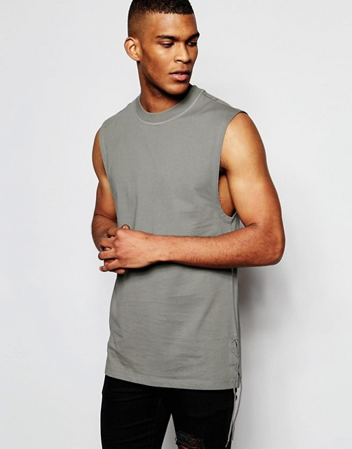 Home; ASOS Longline Sleeveless T-Shirt With Lace Up Detail.  image.AlternateText