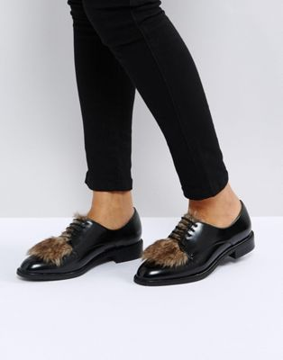 Image 1 of ASOS MAD HATTER Faux Fur Flat Shoes
