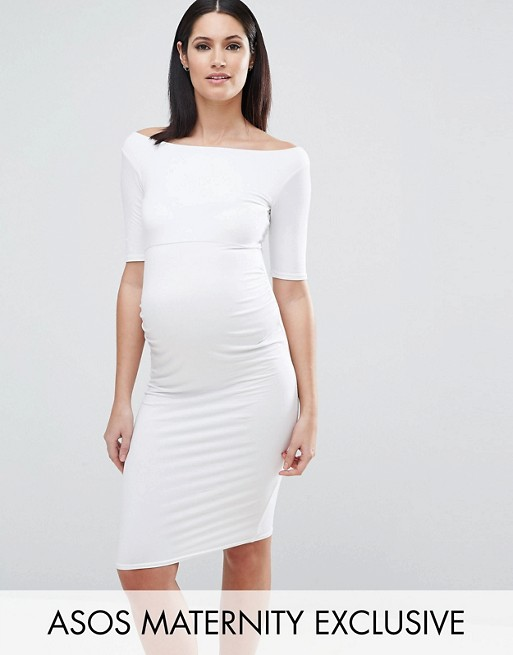 Recommend Cheap Price Bardot Dress with Long Sleeve - Red Asos Maternity Buy Cheap Manchester Great Sale Free Shipping Cheap Quality Cheapest Price Online Wiki Sale Online kE3ujj
