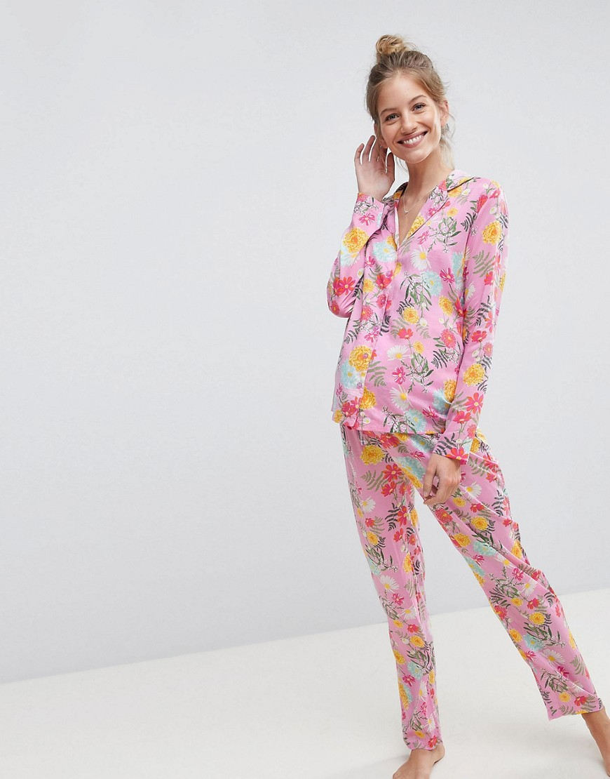 Bright Floral 100% Modal Traditional Shirt & Trouser Pyjama Set - Multi Asos Maternity