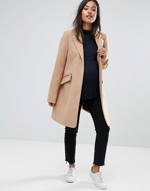 Maternity - Manteau boyfriend ajusté avec poche zippée