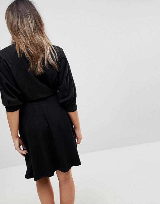 ASOS MATERNITY NURSING Batwing Skater Dress With Button Through - Black Asos Maternity 2ctcGfOMFC