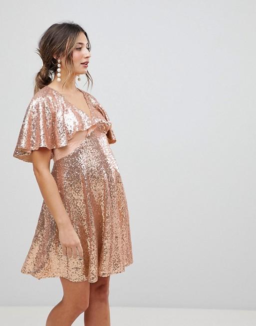ASOS Maternity - ASOS Maternity - Robe courte en dentelle à sequins avec manches évasées