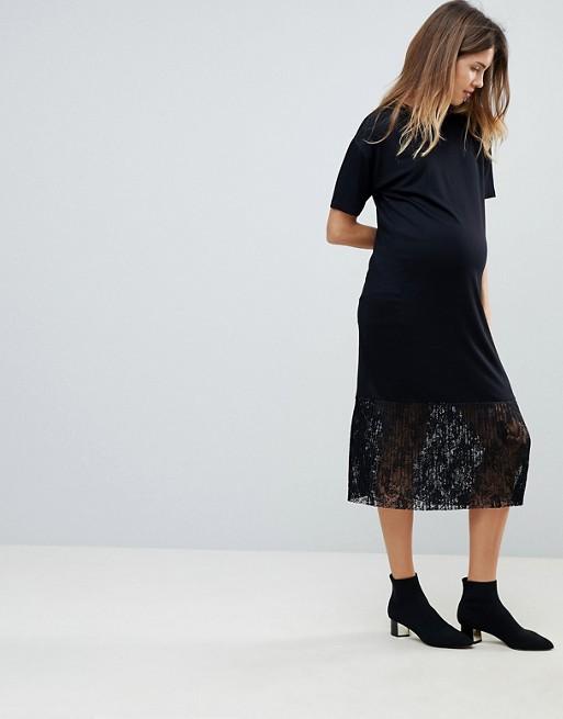 ASOS Maternity - ASOS MATERNITY - Robe t-shirt mi-longue à ourlet plissé en dentelle