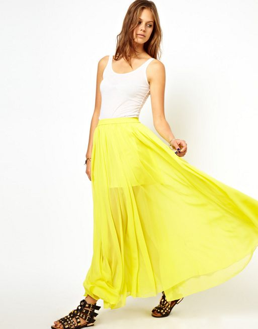 Image 1 of ASOS Maxi Skirt with Embroidered Trim