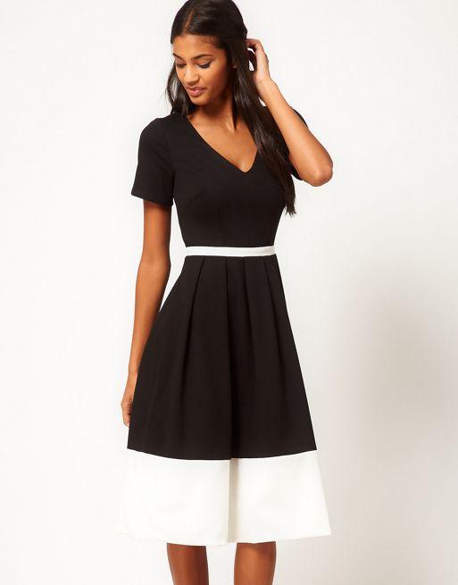 Image 1 of ASOS Midi Dress in Ponte with Contrast Hem