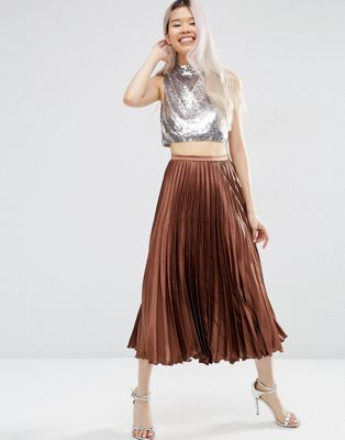 Image 1 of ASOS Midi Skirt in Pleated Satin