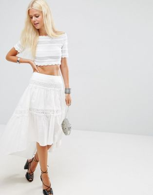 Image 1 of ASOS Midi Skirt with Lace Trims and Dipped Back