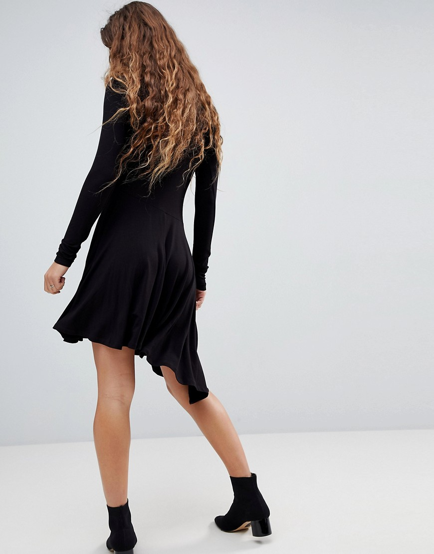 Mini Swing Dress with Asymmetric Hem - Black Asos